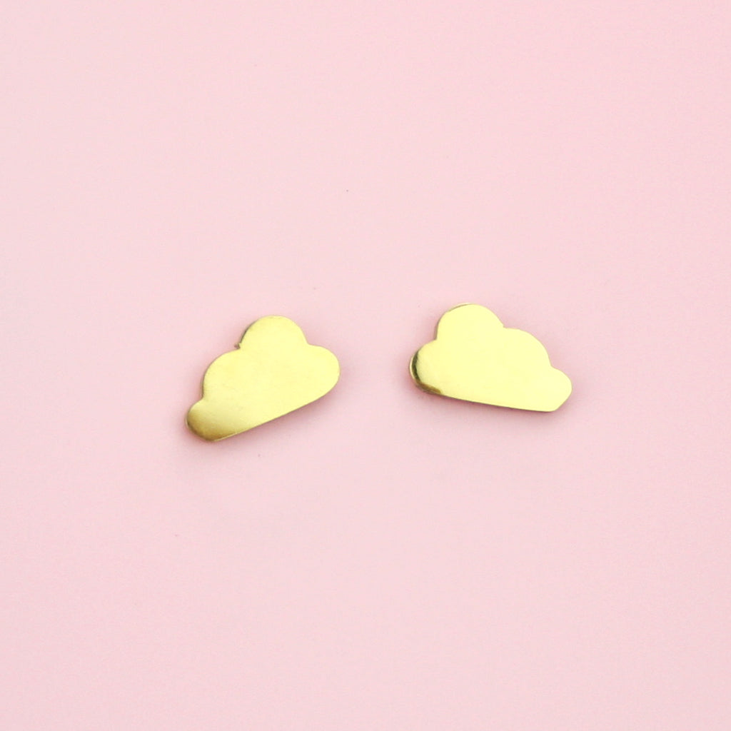 Cloud Stud Earrings (Gold Plated) - Sour Cherry