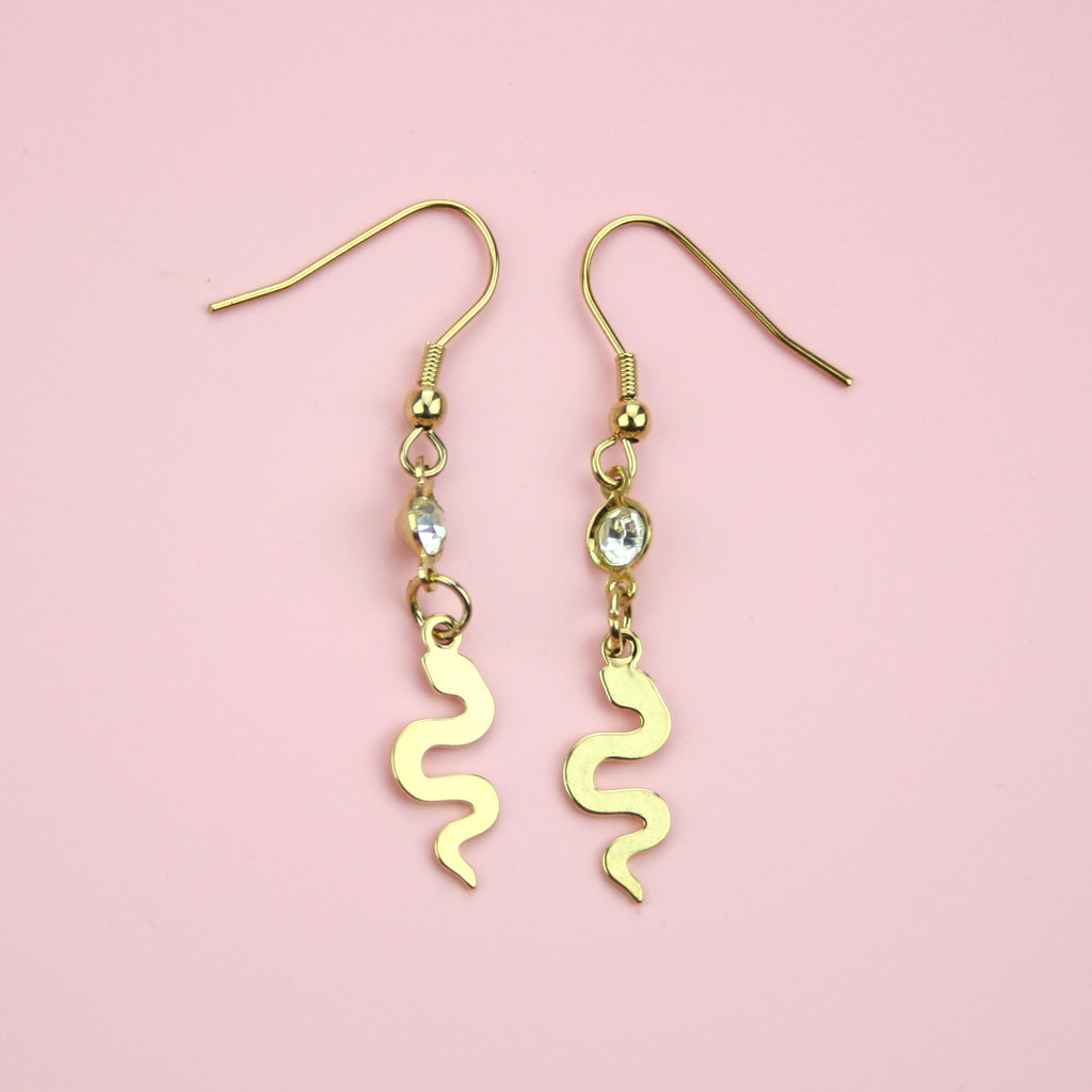 Snake & Gemstone Earrings (Gold Plated) - Sour Cherry