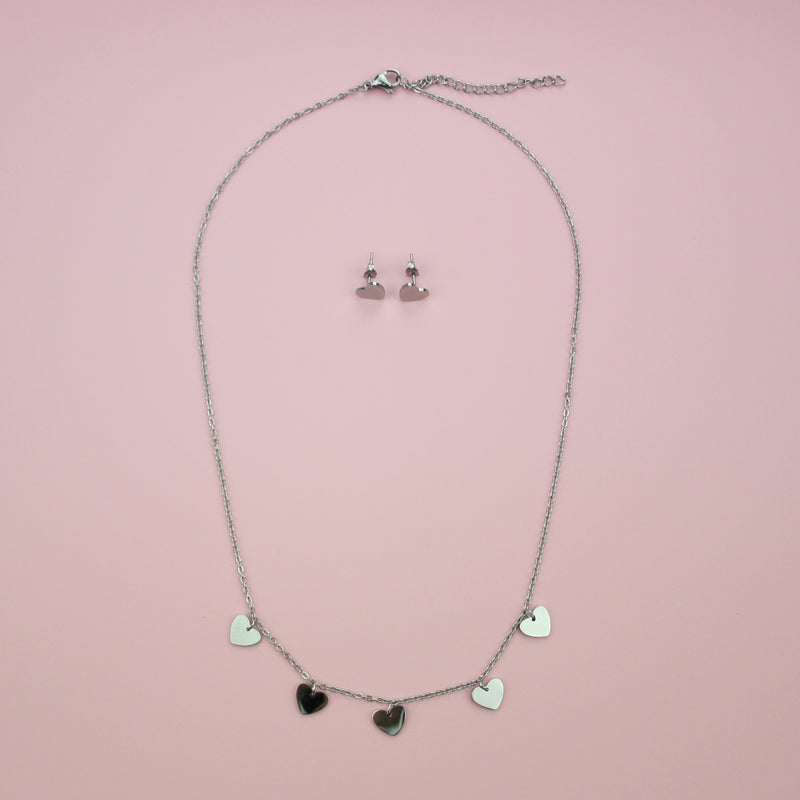 Heart Stud Earring & Necklace Set (Stainless Steel) - Sour Cherry