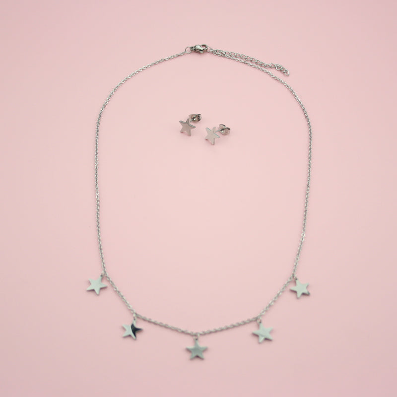 Star Stud Earrings & Necklace Set (Stainless Steel) - Sour Cherry
