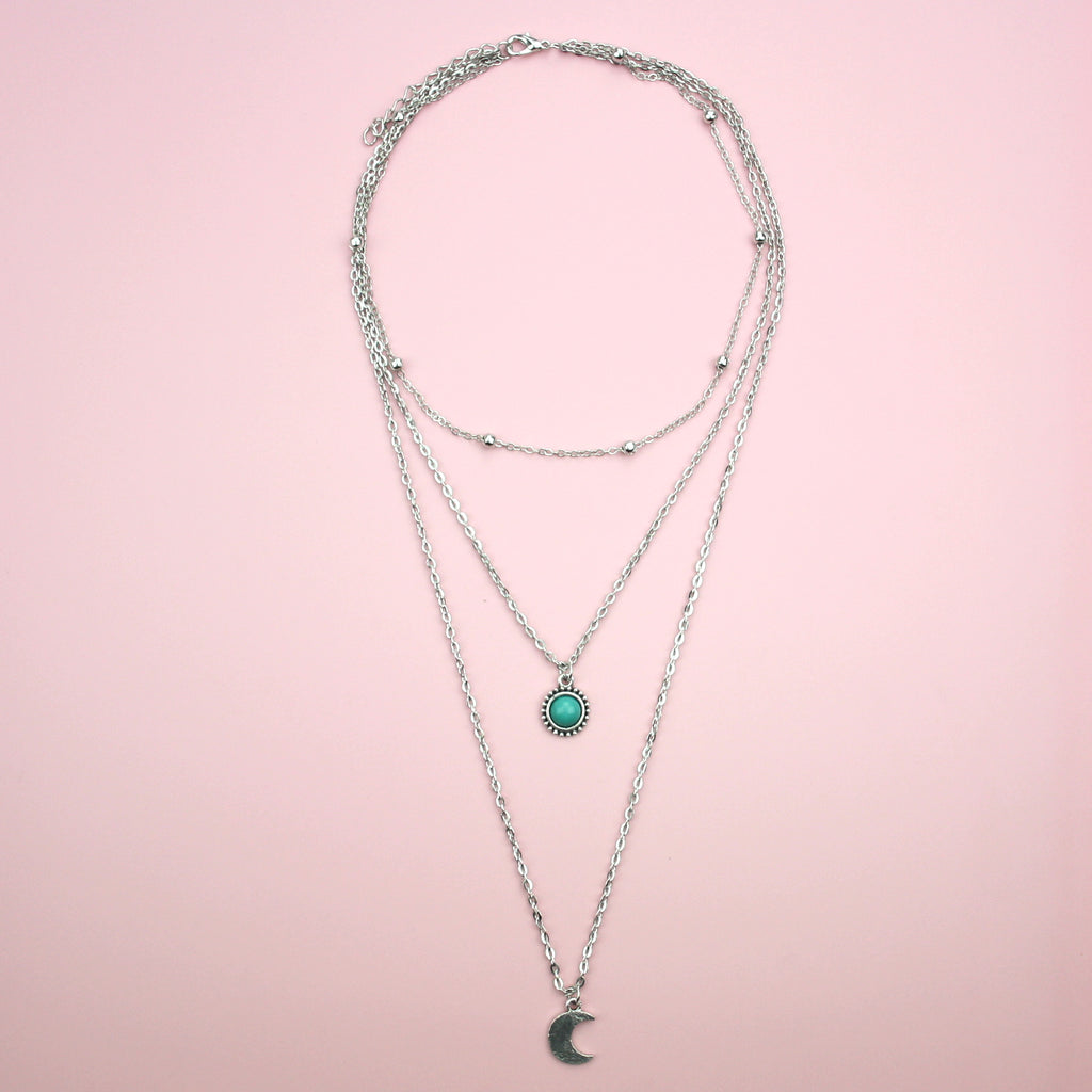 Moon & Turquoise Bead Layer Necklace - Sour Cherry