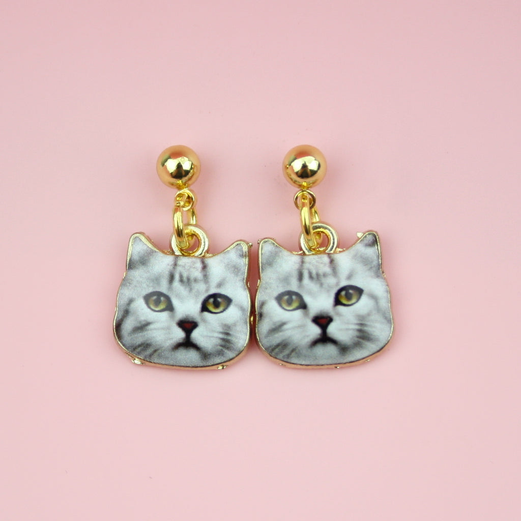 Grey Tabby Cat Earrings - Sour Cherry