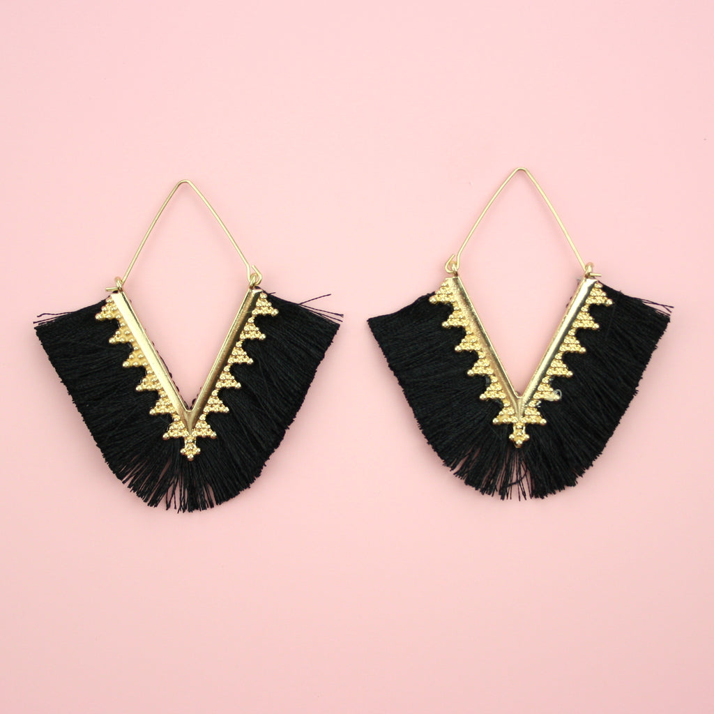 Black V Tassel Earrings