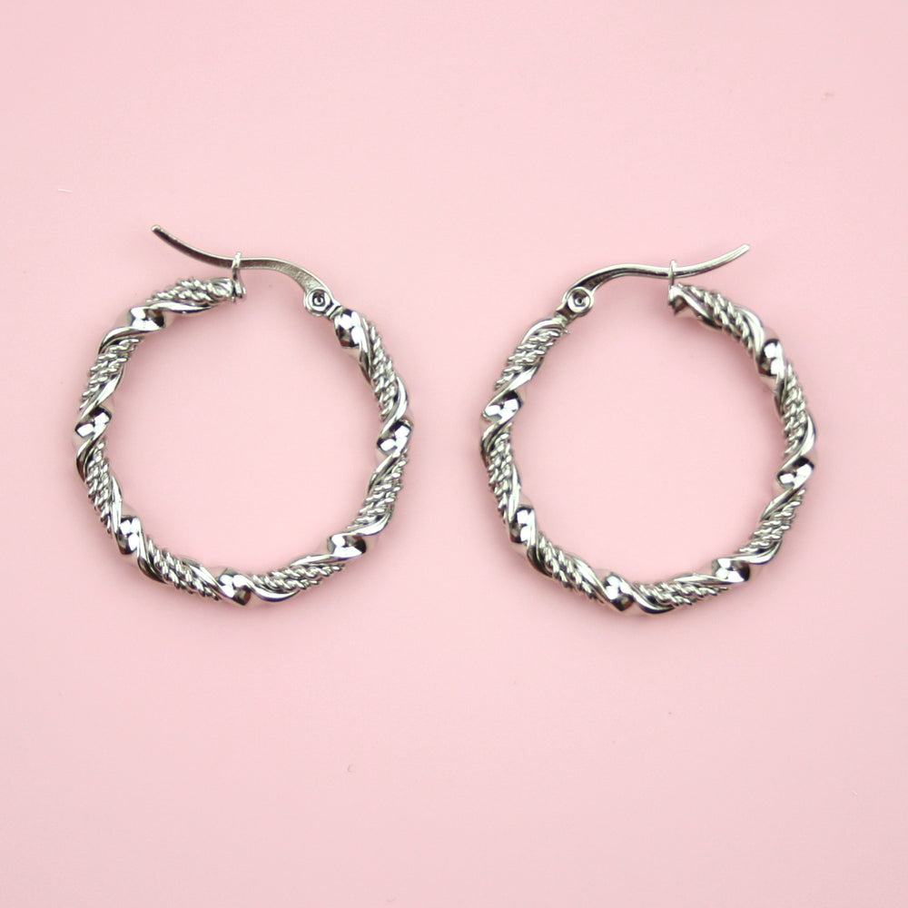 30mm Chunky Twisted Hoop Earrings