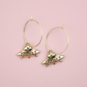 UFO Hoop Earrings (Gold Plated)