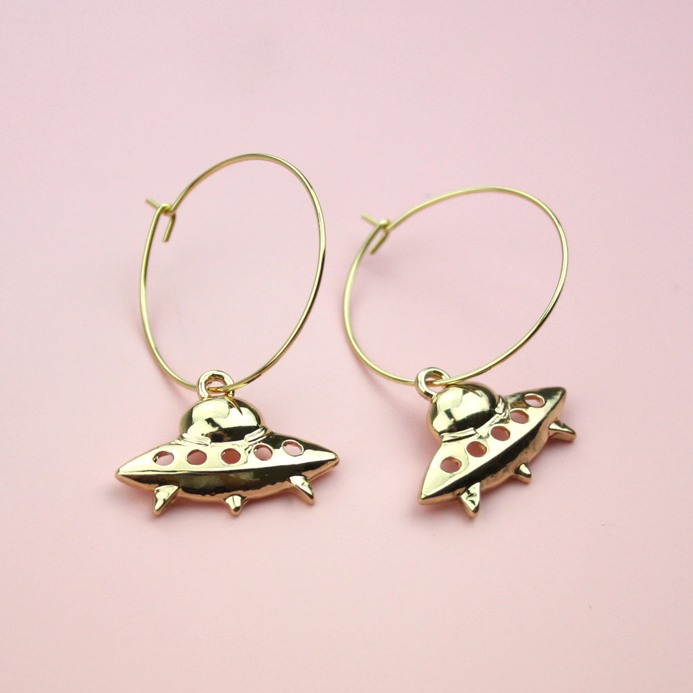 Load image into Gallery viewer, UFO Hoop Earrings (Gold Plated)