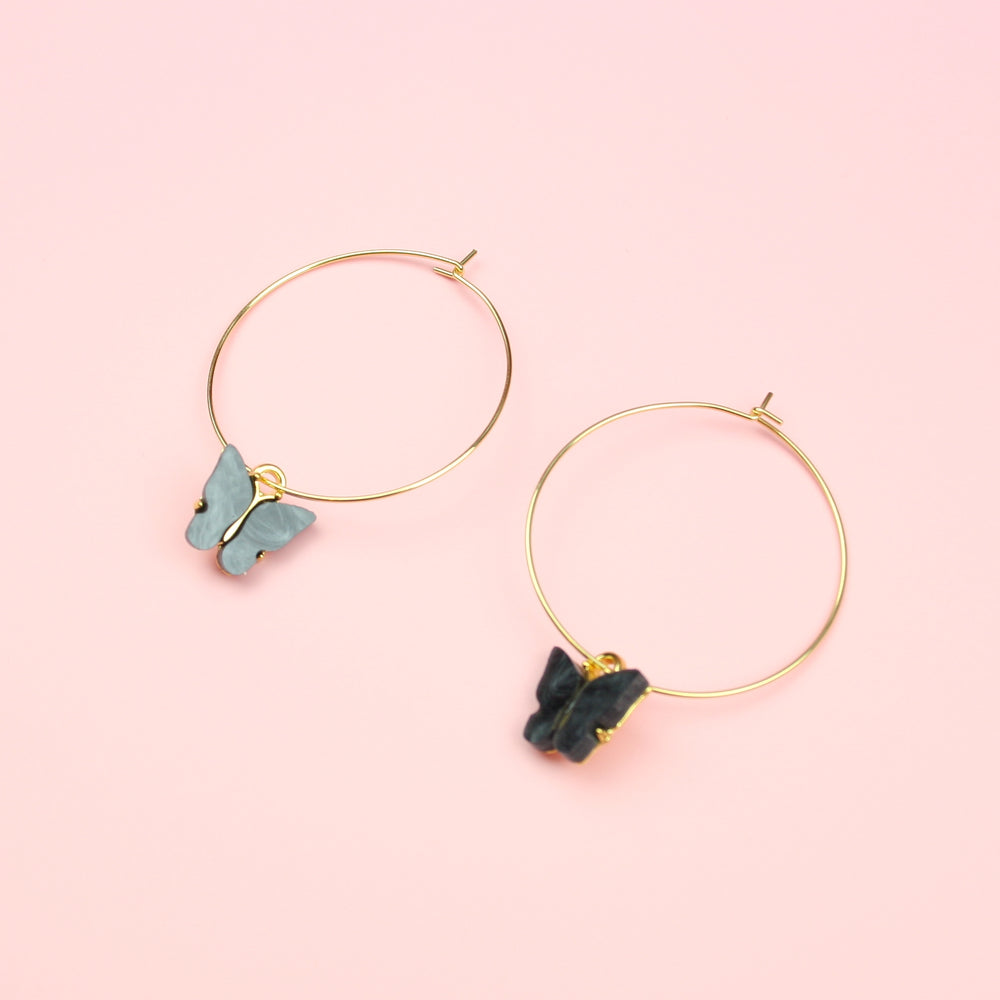 Black Marble Butterfly Hoop Earrings