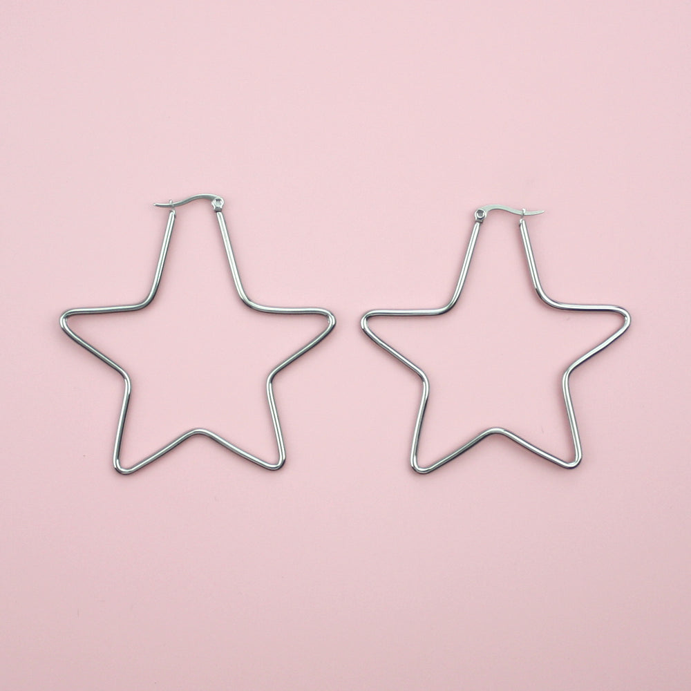 Cut Out Star Hoop Earrings