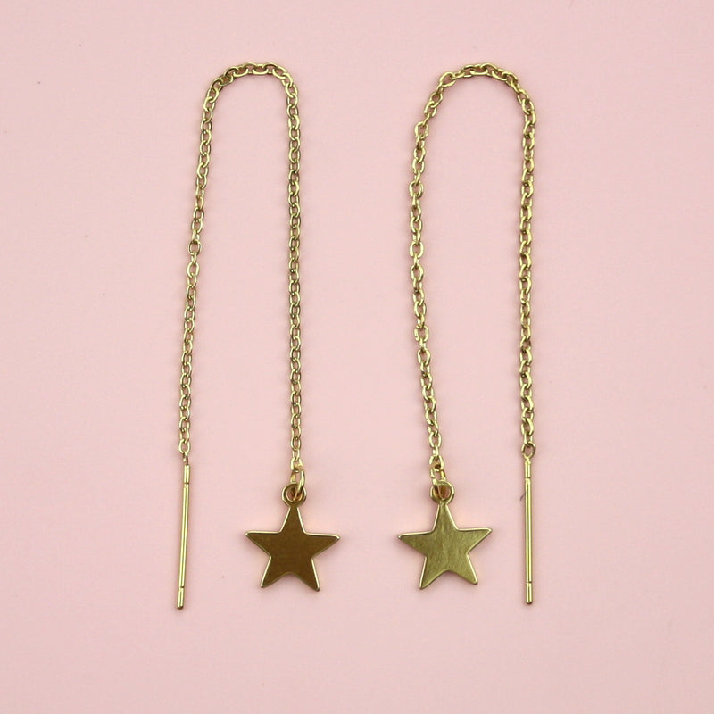 Star Pull Through Earrings (Gold Plated)