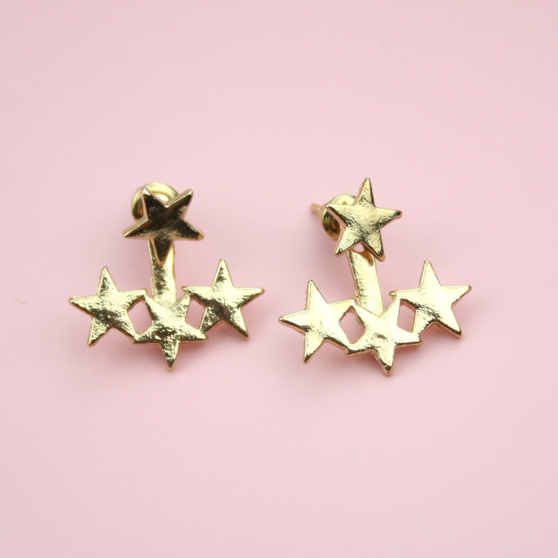 Triple Star Ear Jacket Earrings (Gold Plated)