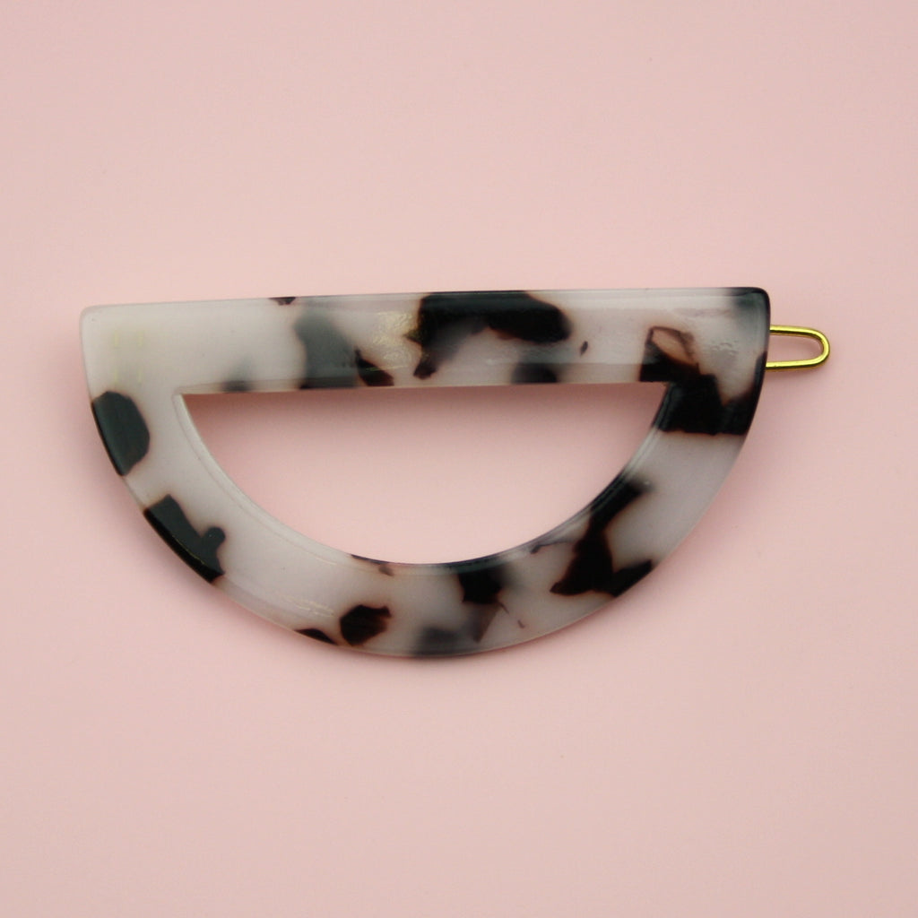 Black & White Semi-Circle Hair Clip