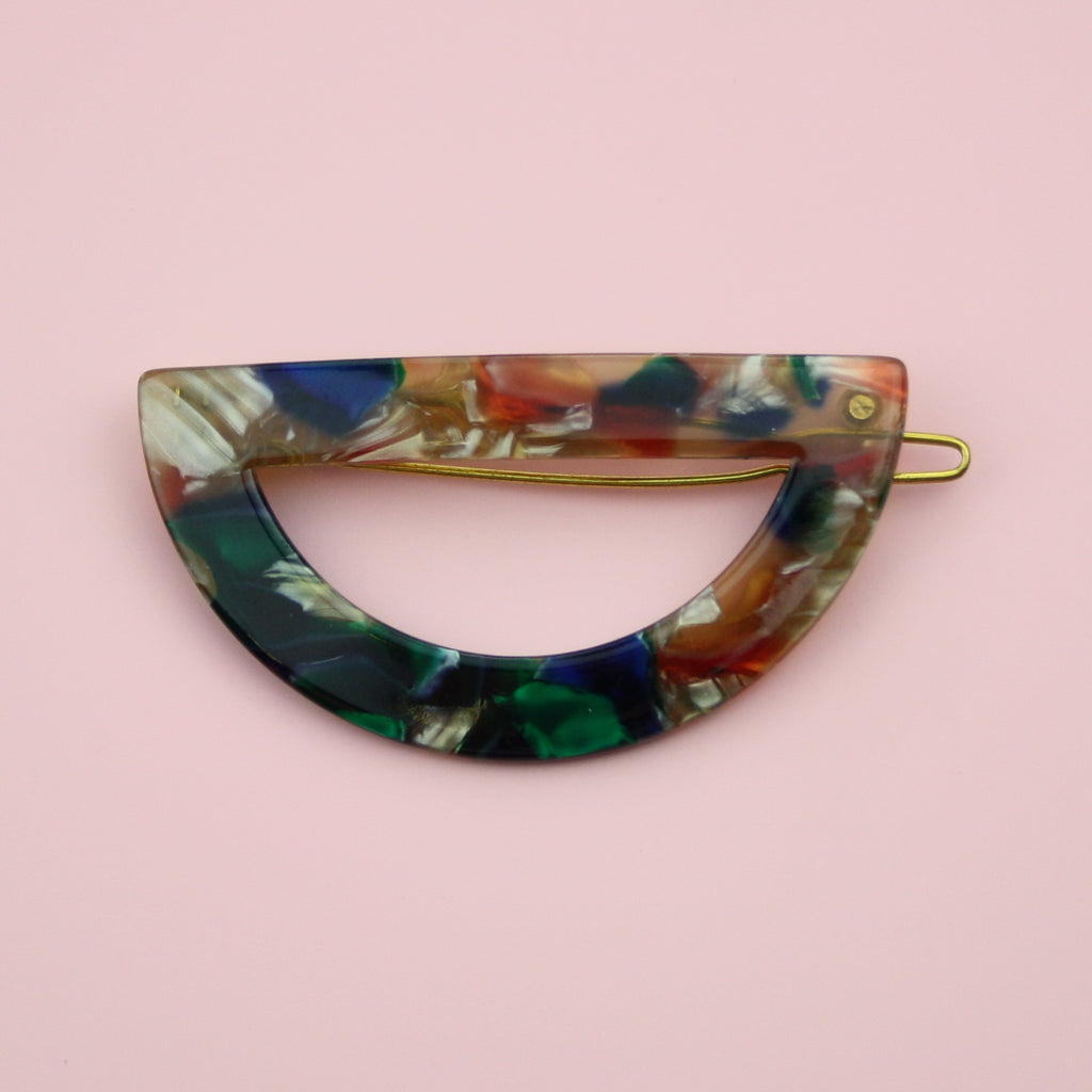 Multi Coloured Semi-Circle Hair Clip