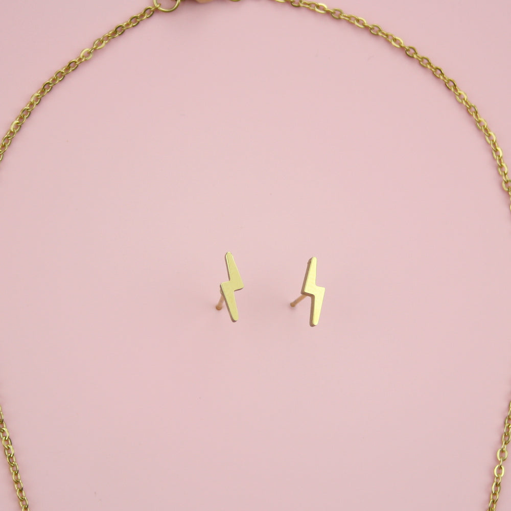 Load image into Gallery viewer, Lightning Bolt Necklace and Stud Earring Set (Gold Plated)