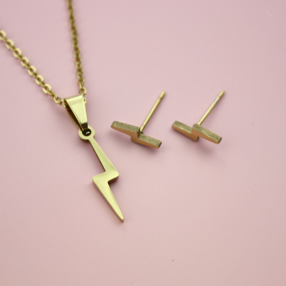 Lightning Bolt Necklace and Stud Earring Set (Gold Plated)