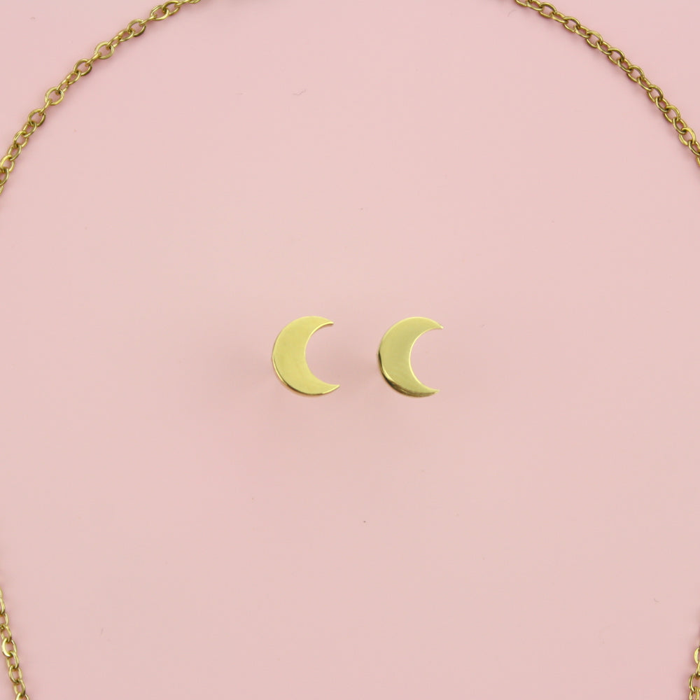 Crescent Moon Necklace & Stud Earrings Set (Gold Plated)