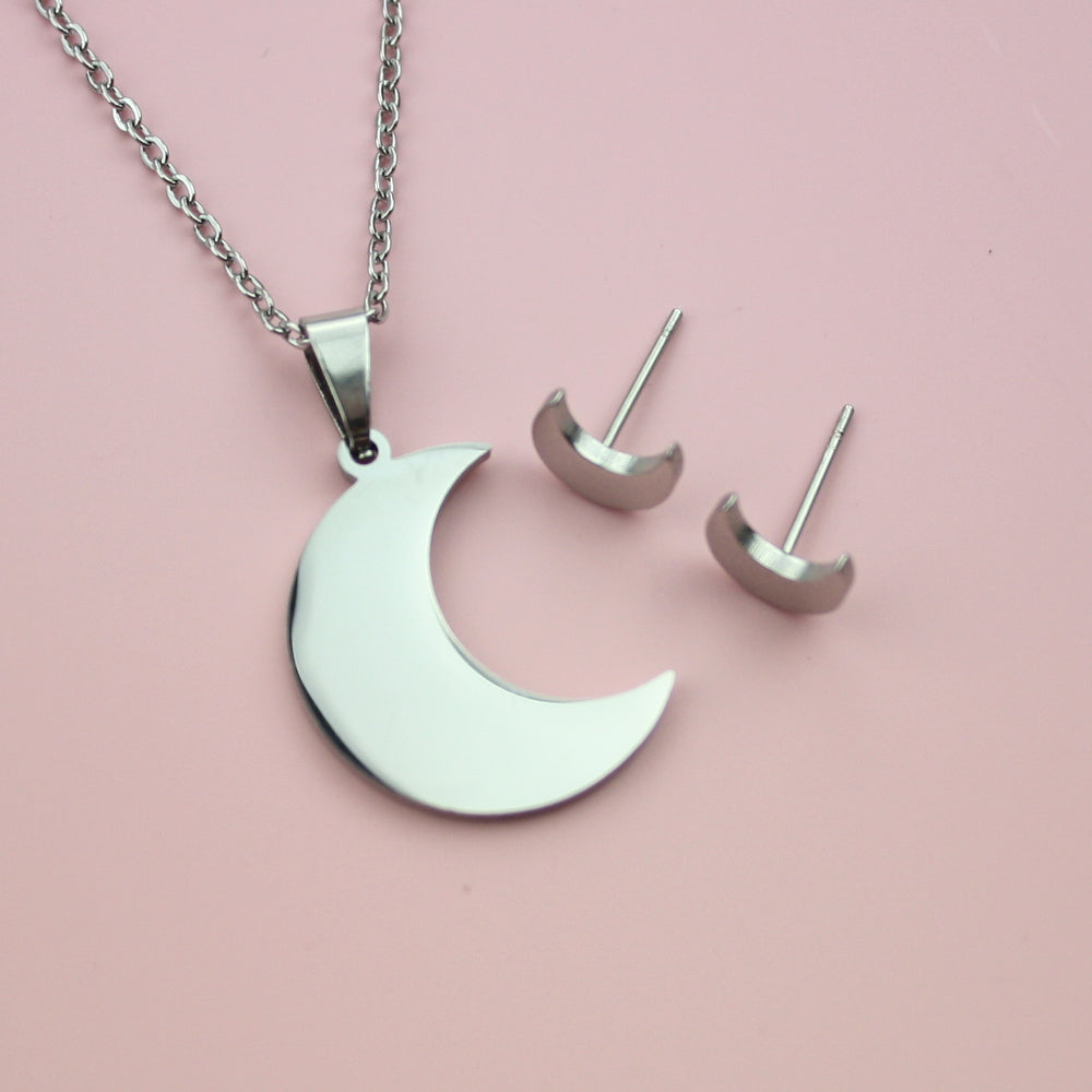 Crescent Moon Necklace & Stud Earrings Set