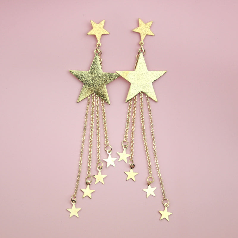 Shooting Star Earrings (Gold Plated)