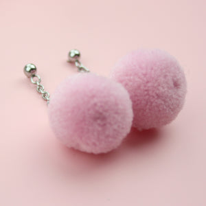 Pastel Pink Pom Pom Earrings - Sour Cherry