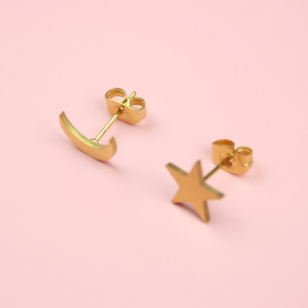 Star & Crescent Moon Stud Earrings (Gold Plated)