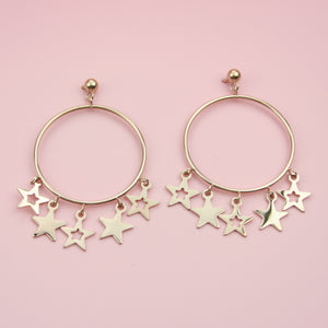 Starlight Hoop Stud Earrings (Rose Gold Plated)