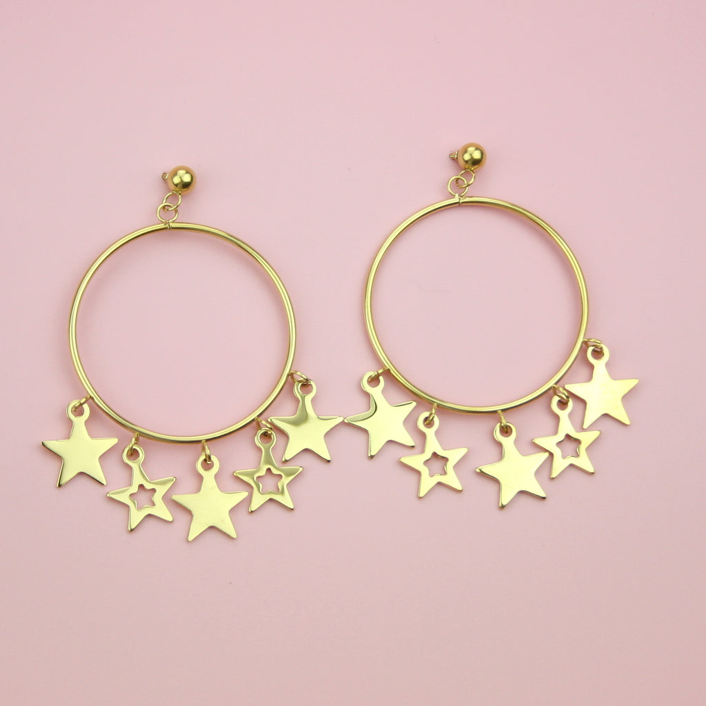 Starlight Hoop Stud Earrings (Gold Plated)
