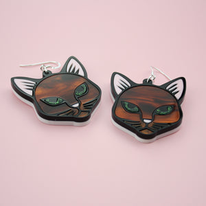 Purrrfect Tortoiseshell Cat Earrings
