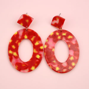 Red & Yellow Oval Resin Earrings
