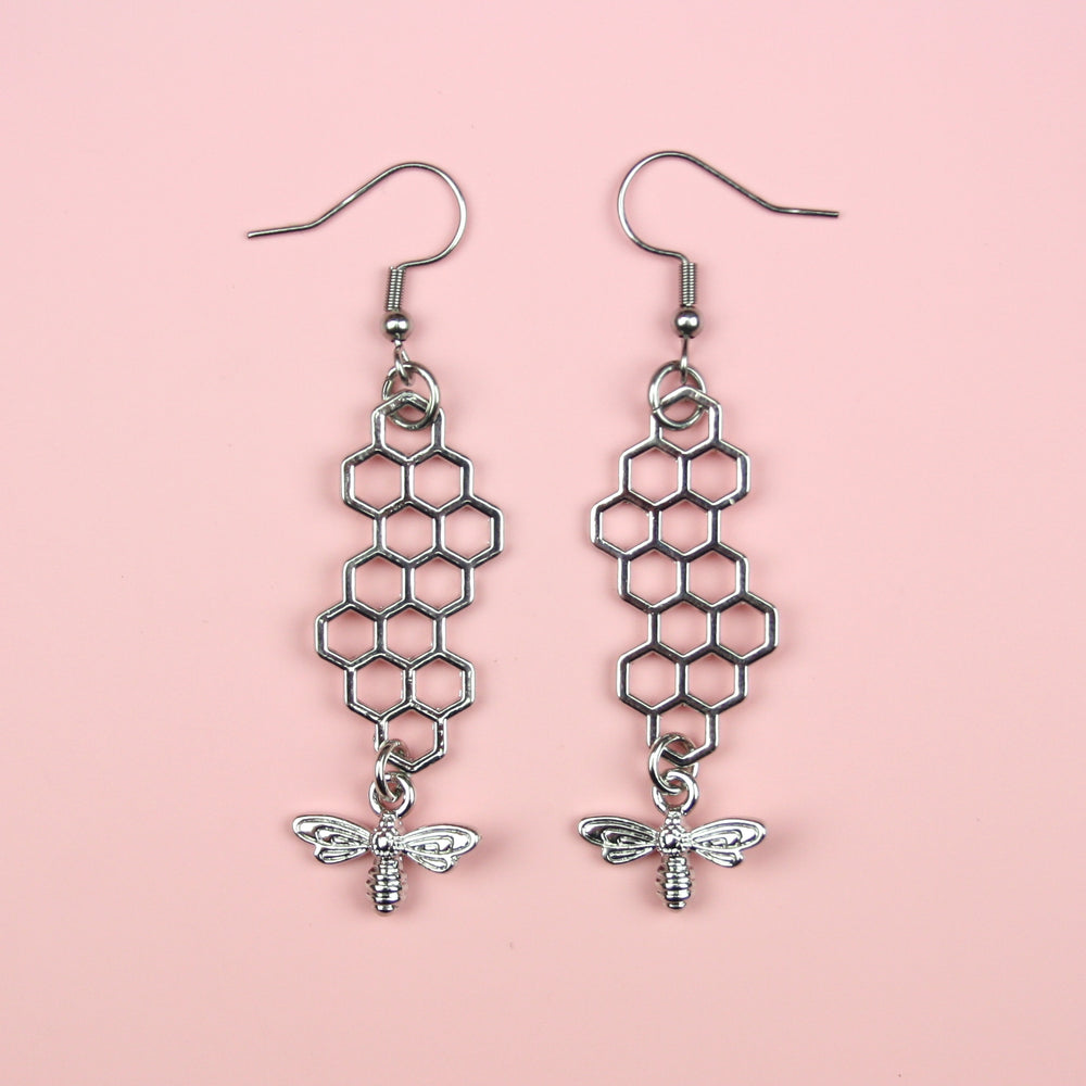Long Silver Honeycomb and Bee Earrings