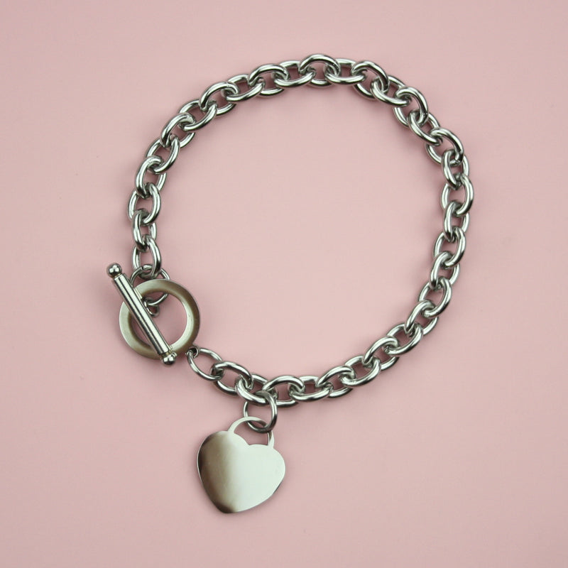 Stainless Steel Chunky Heart Bracelet - Sour Cherry