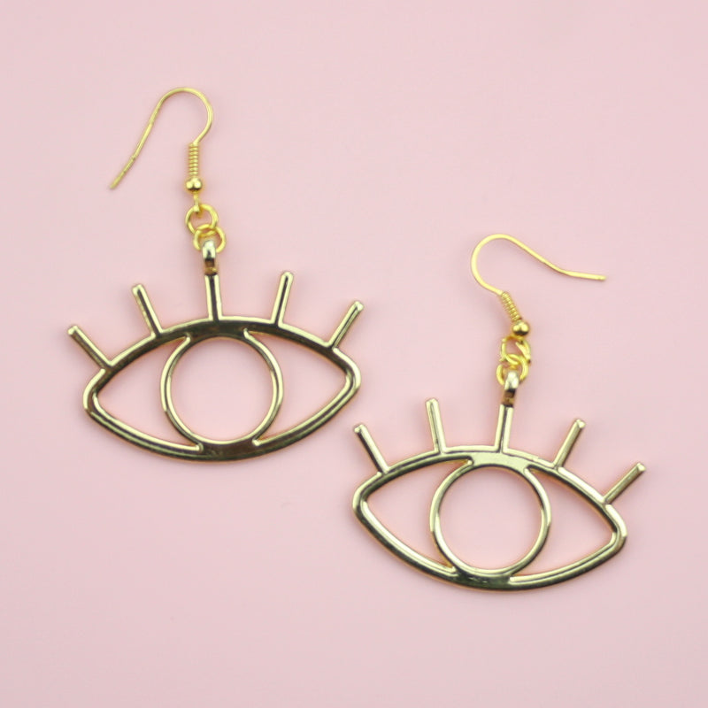 Large Eye Earrings (Gold Plated)