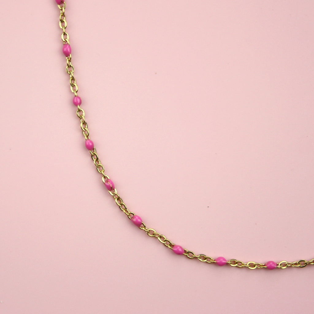 Pink Beaded Necklace (Gold Plated)