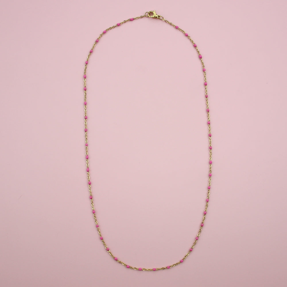 Hot Pink Beaded Necklace (Gold Plated)