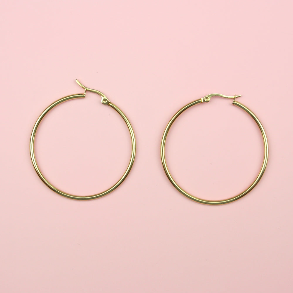 45mm Gold Plated Stainless Steel Hoop Earrings