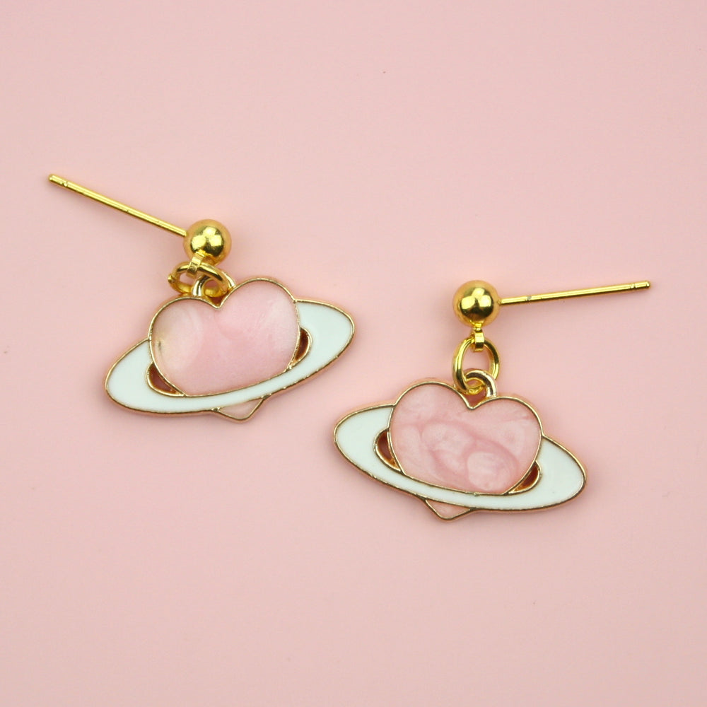 Pink Heart Planet Earrings