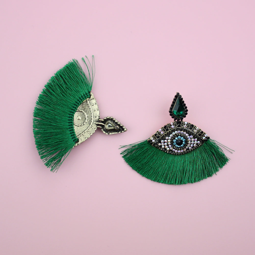 Eye Tassel Stud Earrings (Green)