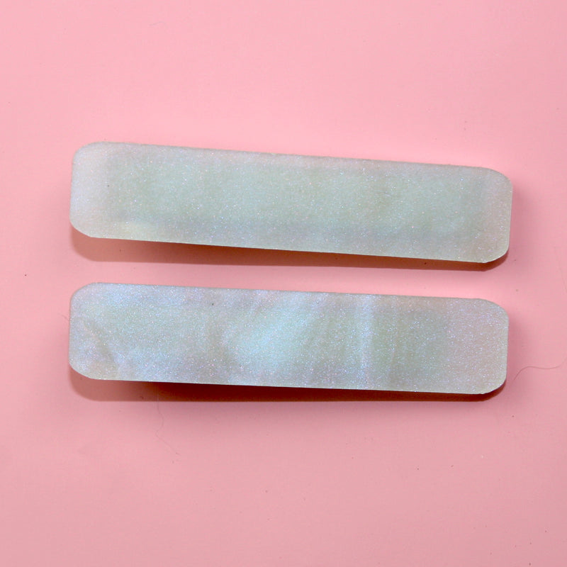 Iridescent Marble Hair Clips - Sour Cherry