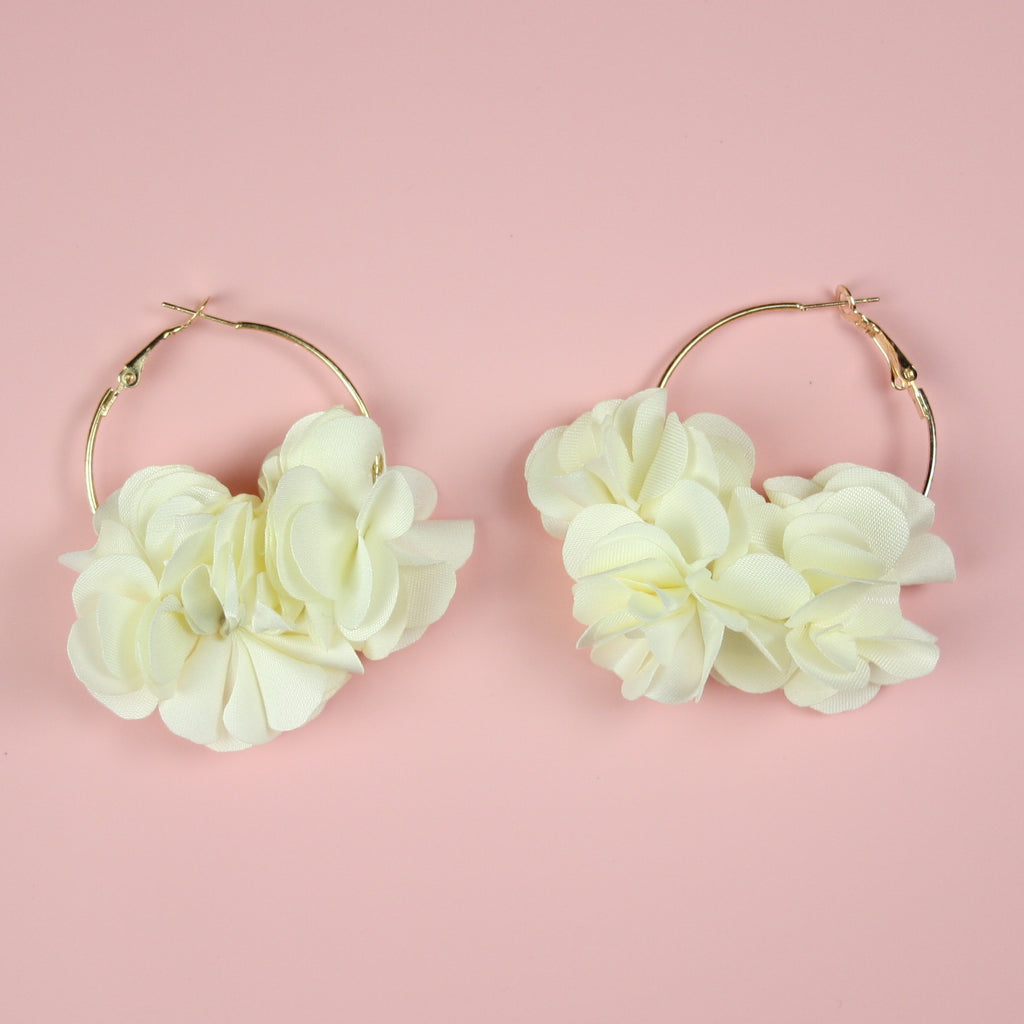 Ivory Flower Hoop Earrings