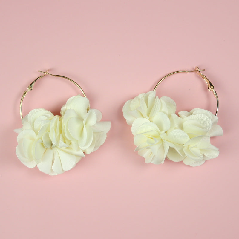 Ivory Flower Hoop Earrings - Sour Cherry
