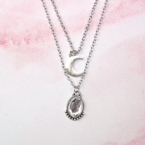 Layered Moon and Crystal Necklace