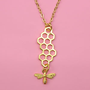 Long Honeycomb and Bee Necklace (Gold Plated)