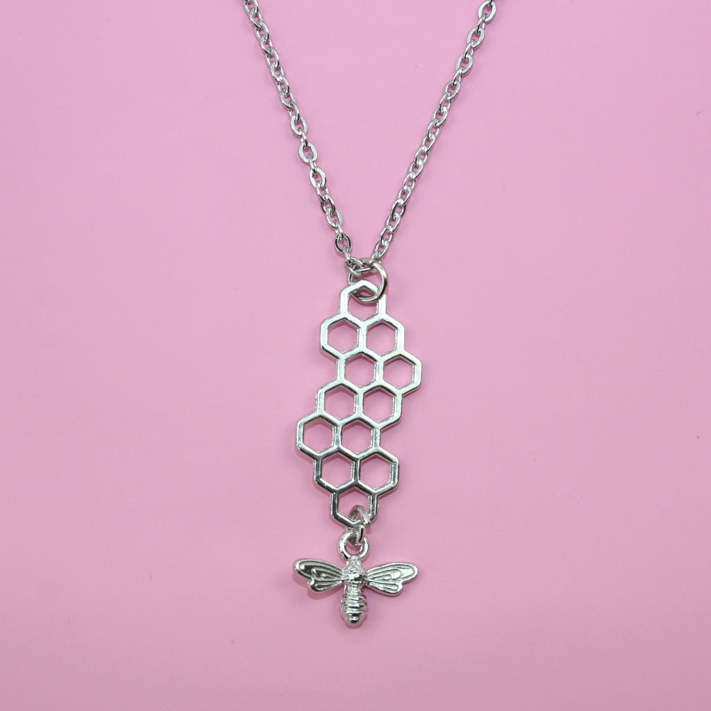 Long Silver Honeycomb and Bee Necklace - Sour Cherry