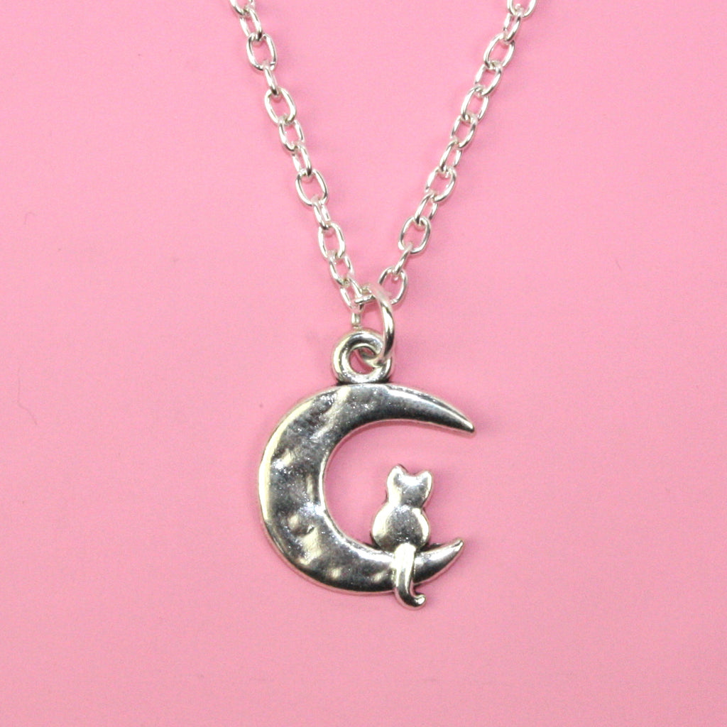 Moon and Cat Necklace (Silver Plated) - Sour Cherry