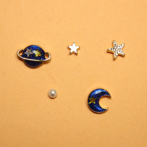 Moon and Planet 5 Piece Earrings
