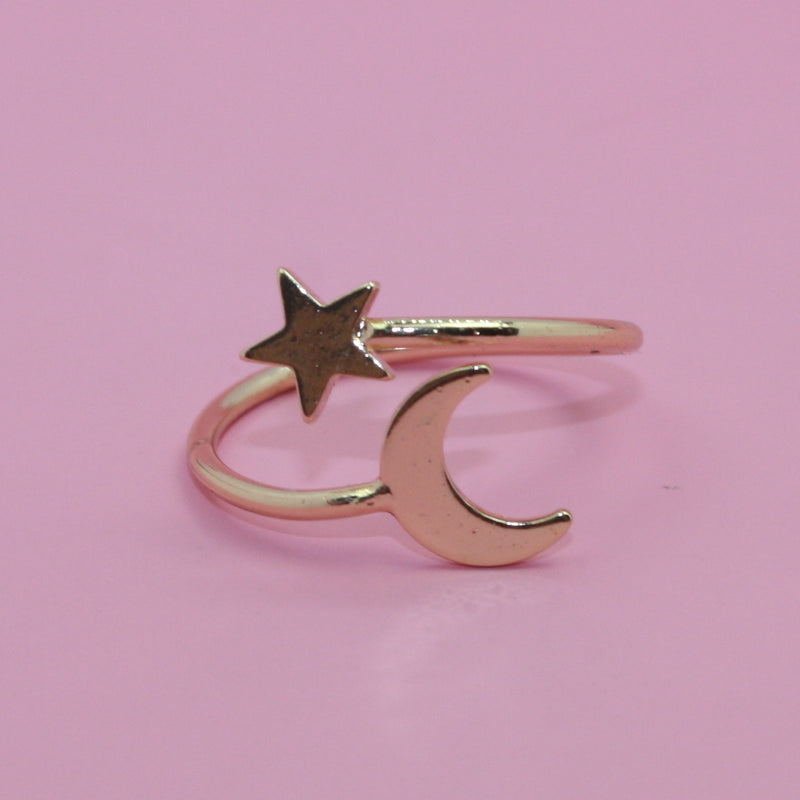 Star & Moon Ring (Gold Plated)
