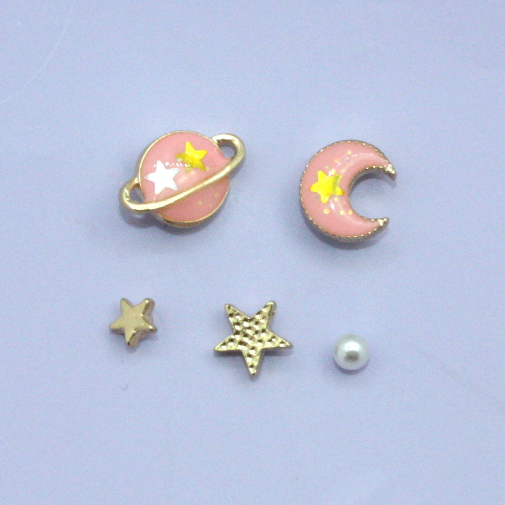Pink Moon & Planet 5 Piece Earrings - Sour Cherry