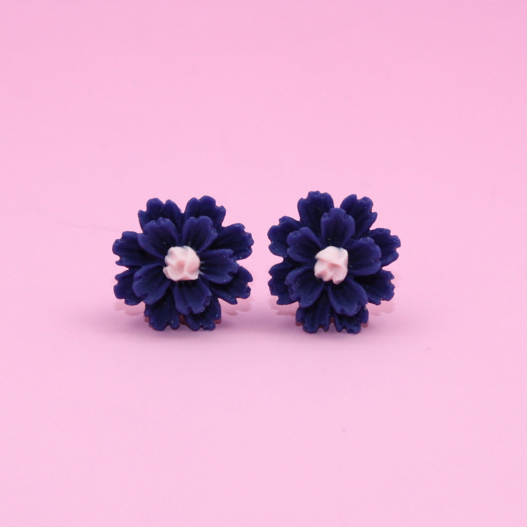 Navy Flower Stud Earrings - Sour Cherry