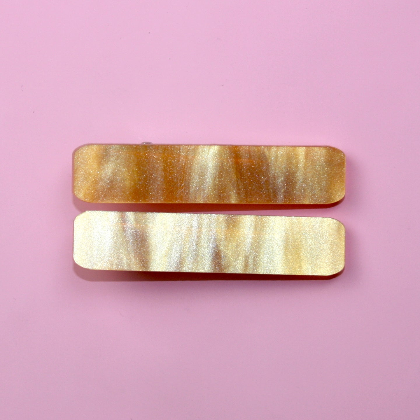 Orange Marble Hair Clips