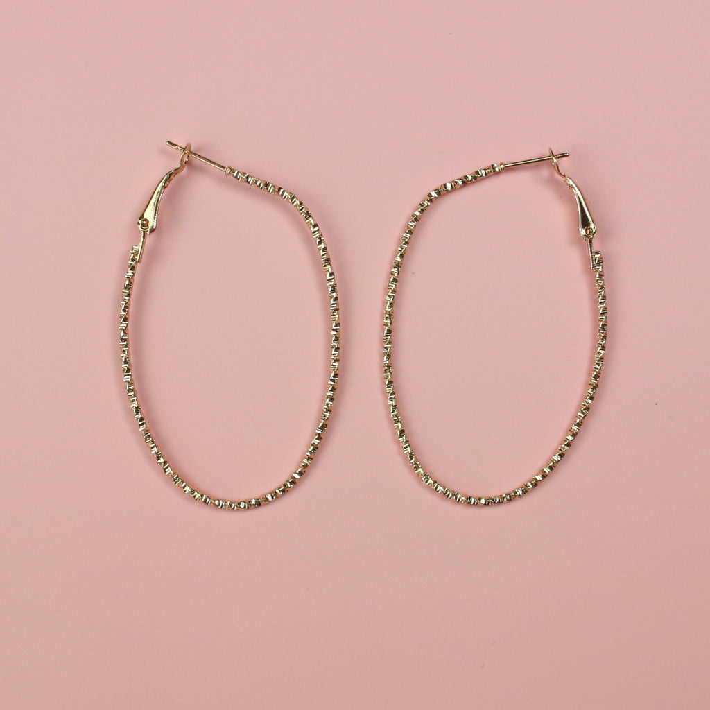 Faceted Oval Hoop Earrings (Gold Plated)