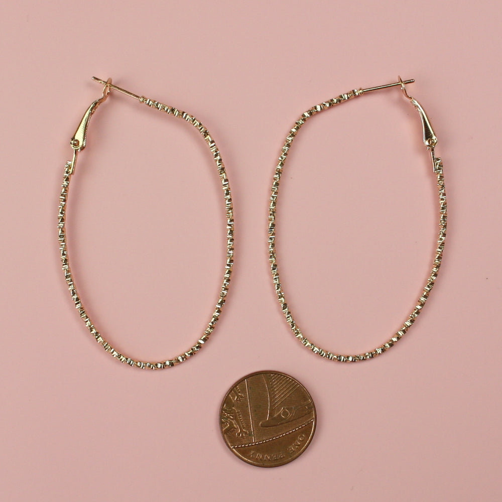 Faceted Oval Hoop Earrings (Gold Plated) - Sour Cherry