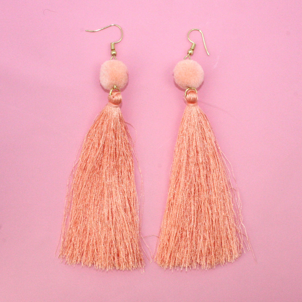 Peach Pom Pom & Tassel Earrings - Sour Cherry